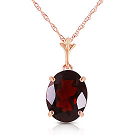 3.12 CTW 14K Solid Rose Gold Solo Oval Garnet Necklace