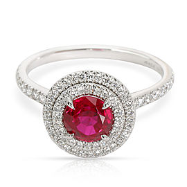 Tiffany & Co. Platinum Diamond, Ruby Ring Size 7