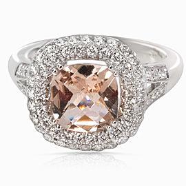 14K White Gold Diamond, Morganite Ring Size 4.5