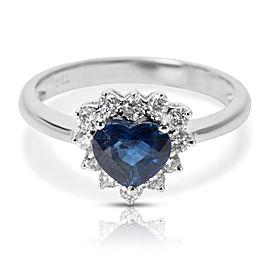 18K White Gold Diamond, Sapphire Ring Size 6.25