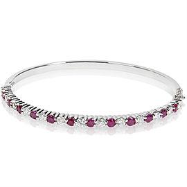 14K White Gold Diamond, Ruby Bracelet