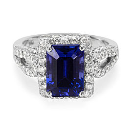 14K White Gold Tanzanite, Diamond, Emerald Ring Size 6.75