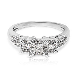 10K White Gold Diamond Engagement Ring Size 6.25