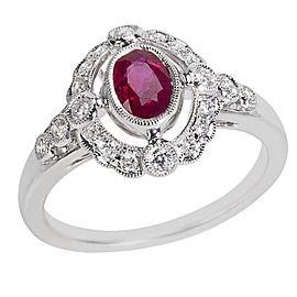 18K White Gold Diamond, Ruby Ring Size 6.25