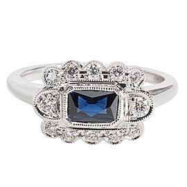 18K White Gold Diamond, Sapphire, Emerald Ring Size 6.25
