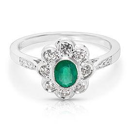 18K White Gold Emerald, Diamond Ring Size 6.25