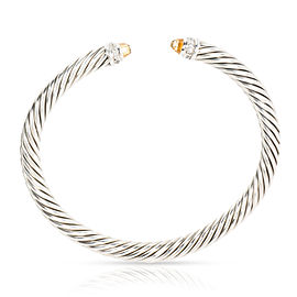 David Yurman 5mm Cable Diamond & Citrine Bangle in Sterling Silver 0.14 CTW