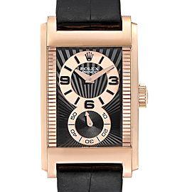 Rolex Cellini Prince 18K Rose Gold Black Dial Mens Watch 5442