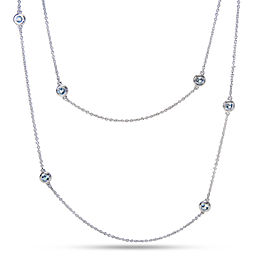 Tiffany & Co. Sterling Silver Aquamarine Necklace