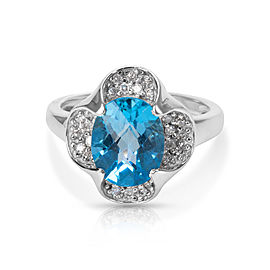 14K White Gold Diamond, Topaz Ring Size 7