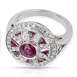 18K White Gold Ruby, Diamond Ring Size 6.25