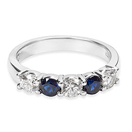 14K White Gold Diamond, Sapphire Ring Size 6.25