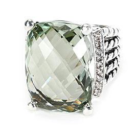 David Yurman Sterling Silver Iolite, Diamond Ring Size 6