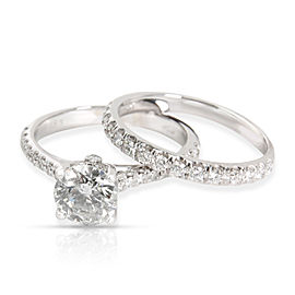 IGI Certified Diamond Engagement Wedding Set in 18K White Gold F/I1 1.89 CTW