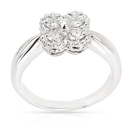 Van Cleef & Arpels Clover Perlee Diamond Ring in 18K White Gold 0.4 CTW