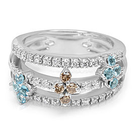 Blue Topaz and Diamond Ring in 18K White Gold (0.42 CTW)
