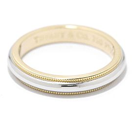 TIFFANY Co. Platinum Milgrain Band Ring Size 6.75