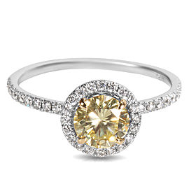 18K White Gold, 18K Yellow Gold Diamond Engagement Ring Size 6.75