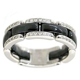 Chanel 18 WG Ceramic Diamond Ring Size 8.75