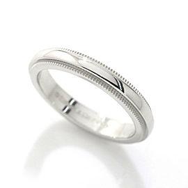 TIFFANY Co. Platinum Milgrain Ring Size 4