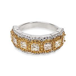 Halo Princess Yellow Diamond Ring in 18KT Gold 2.00 ctw