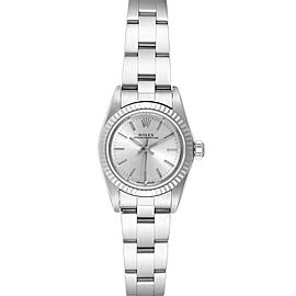 Rolex Oyster Perpetual Steel White Gold Silver Dial Ladies Watch 76094