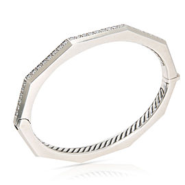 David Yurman Wellesley Faceted Diamond Bangle in Sterling Silver 0.81 CTW