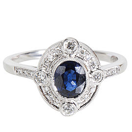 Diamond and Sapphire Vintage Style Ring (0.89 CTW)