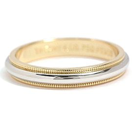 TIFFANY Co. 18K YG/ PT Milgrain Band Ring Size9.5