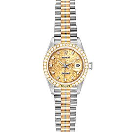 Rolex President Tridor White Yellow Rose Gold Diamond Ladies Watch 69179
