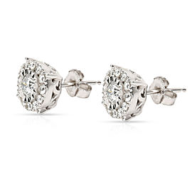Miracle Set Diamond Stud Earring in 10K White Gold 0.55 CTW