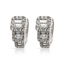 Round & Baguette Diamond Huggies Earrings in 18K White Gold 0.85 CTW