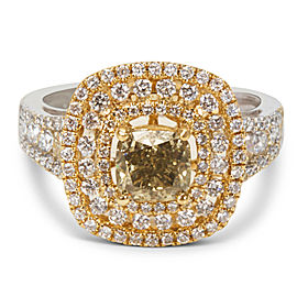 Double Halo Diamond Ring in 18K Two Tone Gold (2.05 CTW)