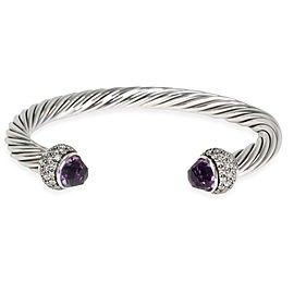 David Yurman 7mm Cable Bangle with Amethyst & Diamonds 1.28 CTW