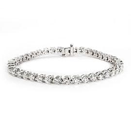 Three Prong Diamond Tennis Bracelet in 14K White Gold 6 CTW