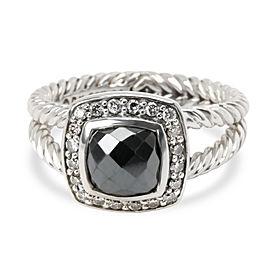 David Yurman Petite Albion Hematite & Diamond Ring in Sterling Silver 0.20 ctw