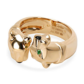 Cartier Panthere Ring with Emerald Eyes and Onyx nose in 18K Yellow Gold
