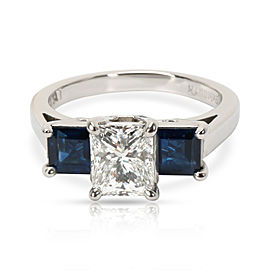 GIA Certified Princess Diamond & Sapphire 3 Stone Ring in Platinum F VS1 1.02CTW