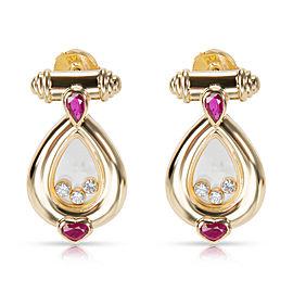 Chopard Vintage Happy Diamonds & Rubies Earrings in 18K Yellow Gold