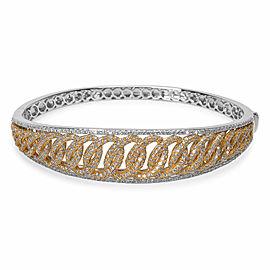 Interlocking Hinged diamond Bangle in 18KT Two-Toned Gold 4.54 ctw