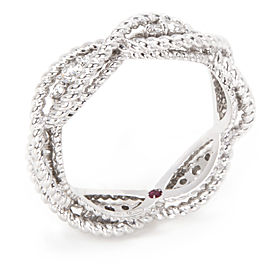 Roberto Coin Barocco Braided Ring in 18K White Gold (0.30 CTW)