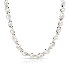 Tiffany & Co. Aria Diamond & Akoya Pearl Necklace in Platinum 5.40 ctw