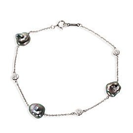 Tiffany & Co. Elsa Peretti Diamond & Tahitian Keshi Pearl Bracelet in Platinum