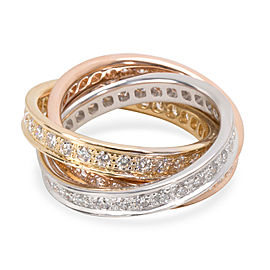 Cartier Trinity Ring in 18K 3 Tone Gold 1.55 CTW