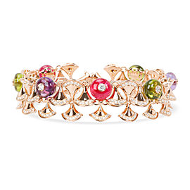 Bulgari Diva's Dream Diamonds, Peridot, Amethyst Bracelet in 18K Gold 5.89 CTW