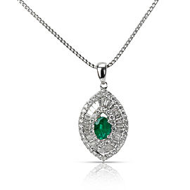 Emerald & Diamond Evil Eye Pendant in 14K White Gold 1.44 CTW