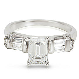 GSL Certified Emerald Cut Diamond Engagement Ring in 14k Gold E-F VS2 1.01 ctw