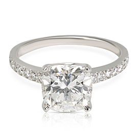 Tiffany & Co. Novo Cushion Diamond Engagement Ring in Platinum G VVS2 2.17 CTW