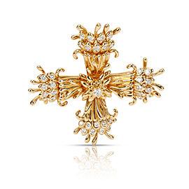 Tiffany & Co. Schlumberger Maltese Cross Pin-Dant in 18K Yellow Gold 1.25 CTW