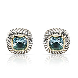 David Yurman Blue Topaz Albion Earrings in 14K Yellow Gold & Sterling Silver